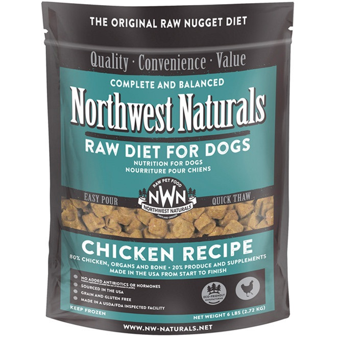 Northwest Naturals Raw Diet Grain-Free Chicken Nuggets Raw Frozen Dog Food 6lbs