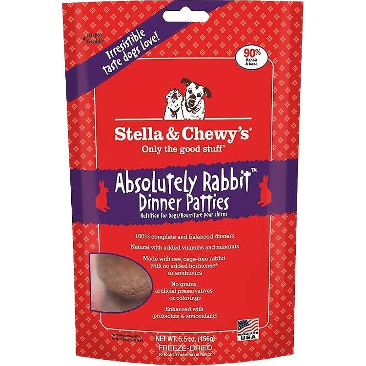 Stella & Chewy's Absolutely Rabbit Dinner Patties Raw Freeze Dried Dog Food 5.5z