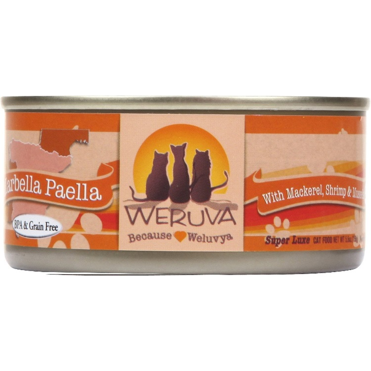 Weruva Marbella Paella with Mackerel, Shrimp & Mussels Canned Cat Food 5.5z, 12