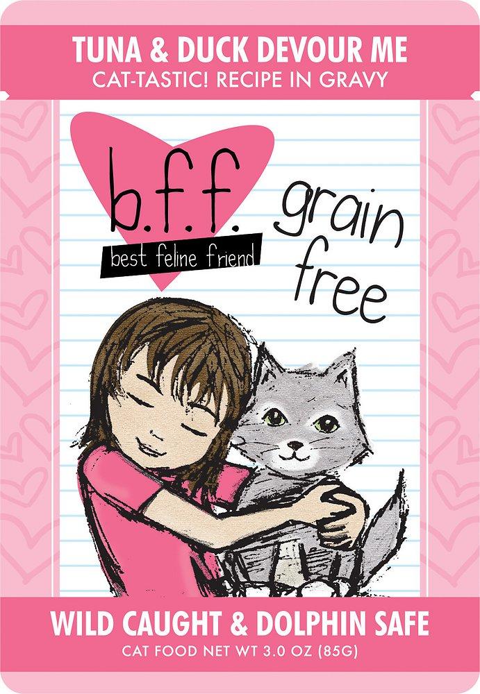 Weruva BFF Grain-Free Tuna & Duck Devour Me Recipe in Gravy Cat Food Pouches 3z, 12