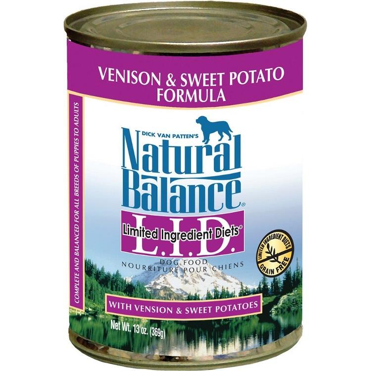 Natural Balance Grain-Free L.I.D. Limited Ingredient Diets Sweet Potato & Venison Formula Canned Dog Food 13z, 12