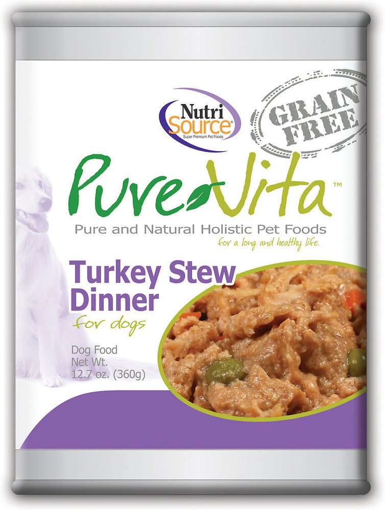 PureVita Grain-Free Turkey Stew Dinner Canned Dog Food 12.7z, 12