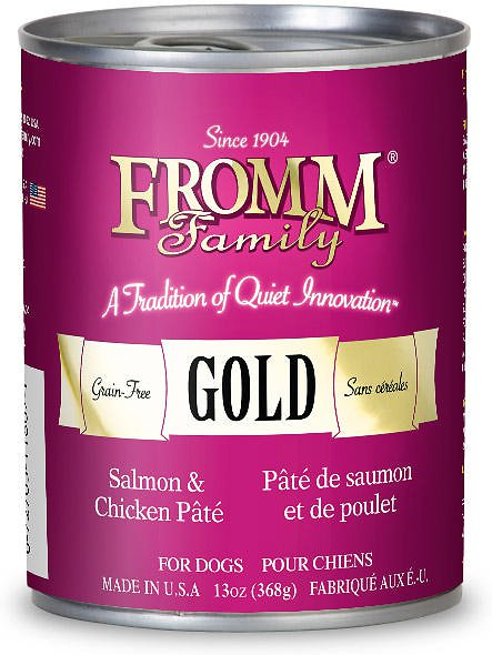 Fromm Gold Grain-Free Salmon & Chicken Pate Canned Dog Food 13z, 12