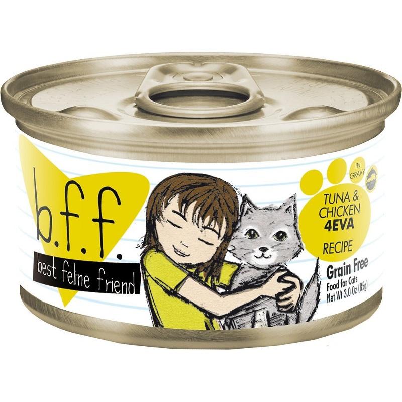 Weruva BFF Grain-Free Tuna & Chicken 4EVA Recipe in Gravy Canned Cat Food 3z, 24
