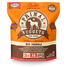 Primal Raw 1z Nuggets Beef Formula Raw Frozen Dog Food 3lbs