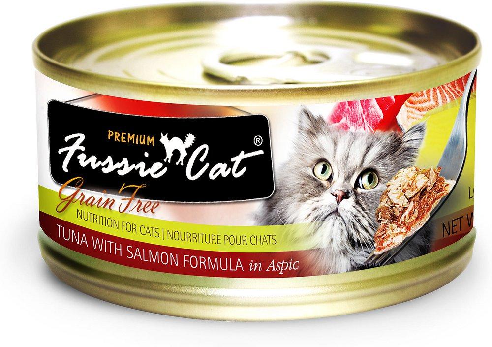 Fussie Cat Premium Grain-Free Tuna with Salmon Formula in Aspic Canned Cat Food 2.8z, 24