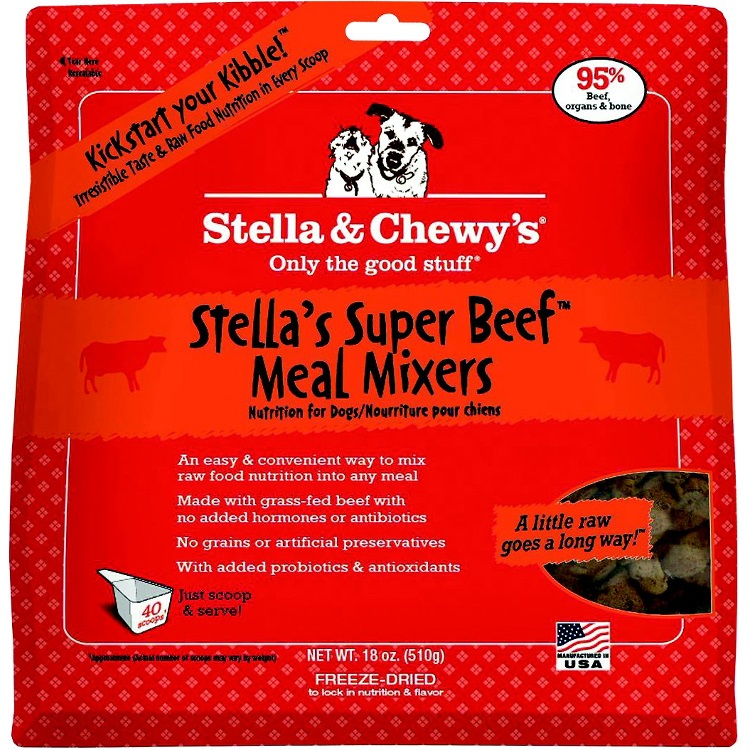 Stella & Chewy's Stella's Super Beef Meal Mixers Raw Freeze Dried Dog Food Topper 18z
