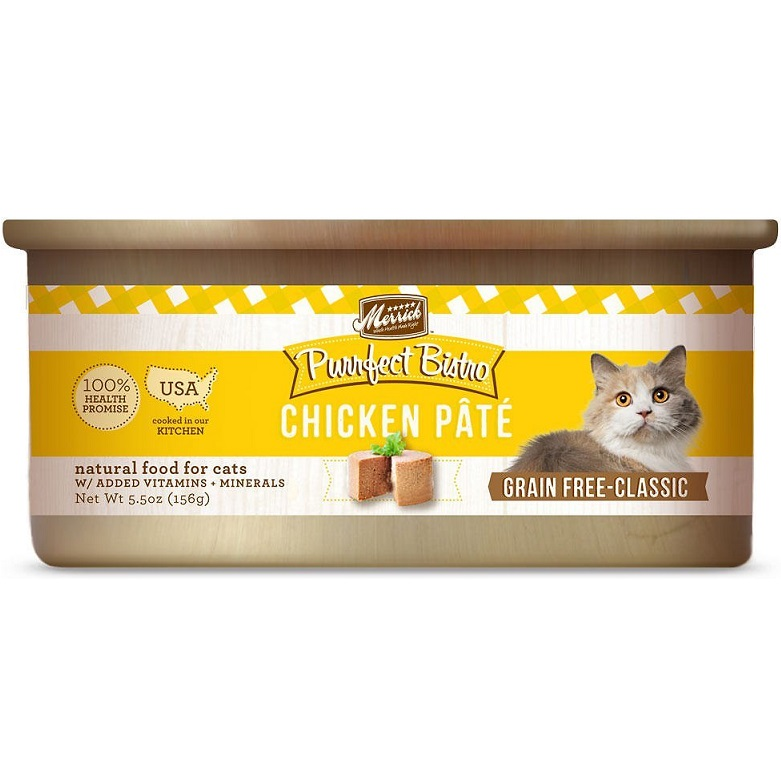 Merrick Purrfect Bistro Grain-Free Chicken Pate Canned Cat Food 5.5z, 24