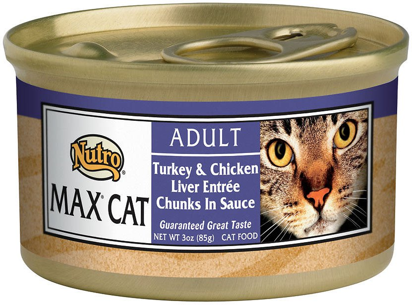 Nutro Max Adult Turkey & Chicken Liver Entree Chunks in Sauce Canned Cat Food 3z, 24