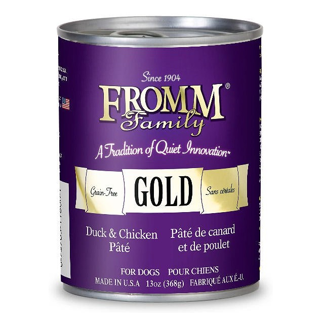 Fromm Gold Grain-Free Duck & Chicken Pate Canned Dog Food 13z, 12