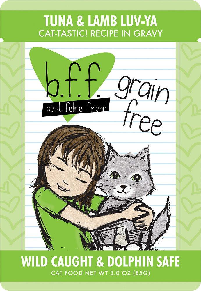 Weruva BFF Grain-Free Tuna & Lamb Luv Ya Recipe in Gravy Cat Food Pouches 3z, 12