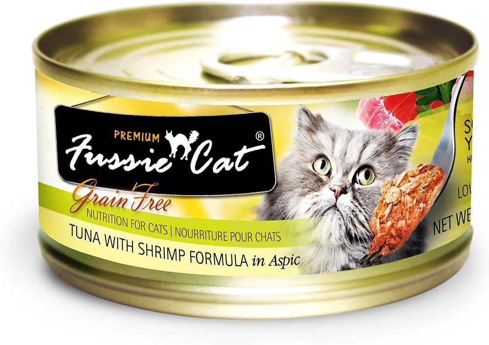 Fussie Cat Premium Grain-Free Tuna with Shrimp Formula in Aspic Canned Cat Food 2.8z, 24