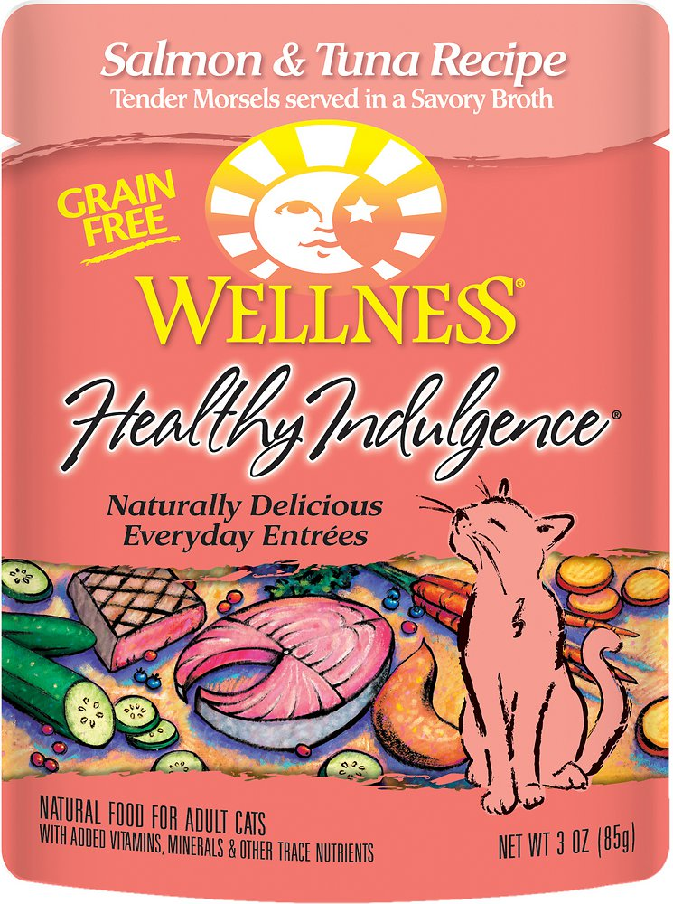 Wellness Healthy Indulgence Grain-Free Salmon & Tuna Recipe Cat Food Pouches 3z, 24