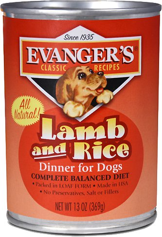 Evanger's Classic Recipes Lamb & Rice Dinner Canned Dog Food 13z, 12