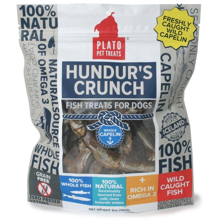 Plato Hundur's Crunch Whole Capelin Fish Dog Treats 5z