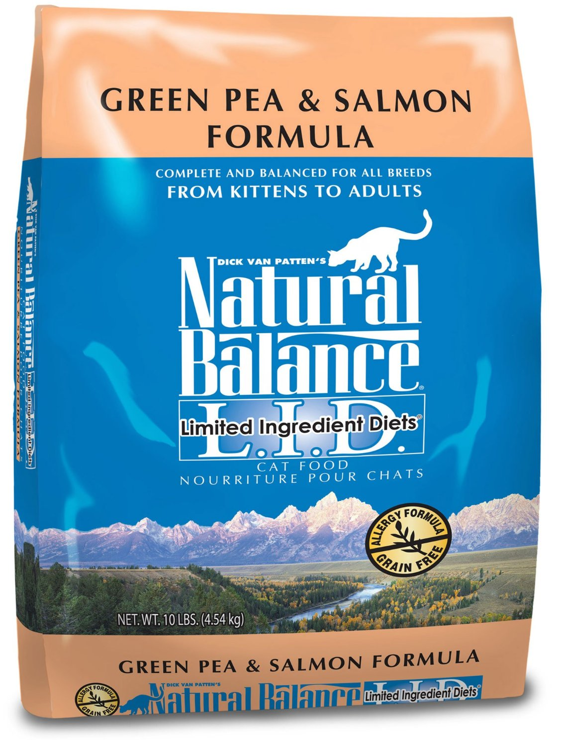 Natural Balance L.I.D. Limited Ingredient Diets Green Pea & Salmon Formula Grain-Free Dry Cat Food 10lbs