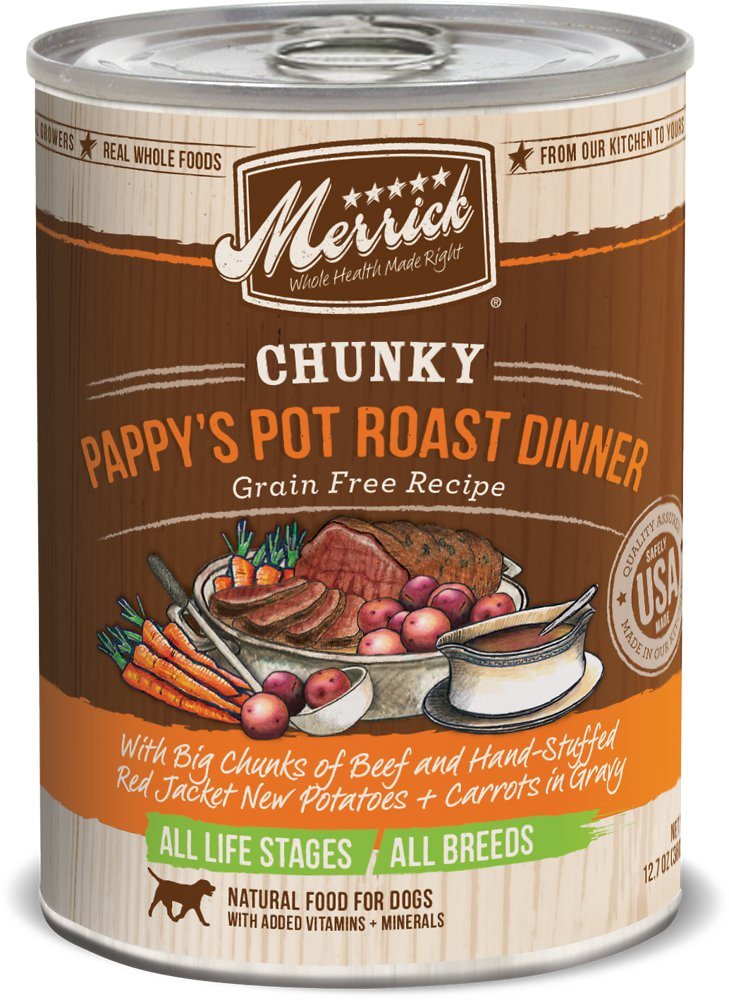 Merrick Chunky Grain-Free Pappy's Pot Roast Dinner Canned Dog Food 12.7z, 12