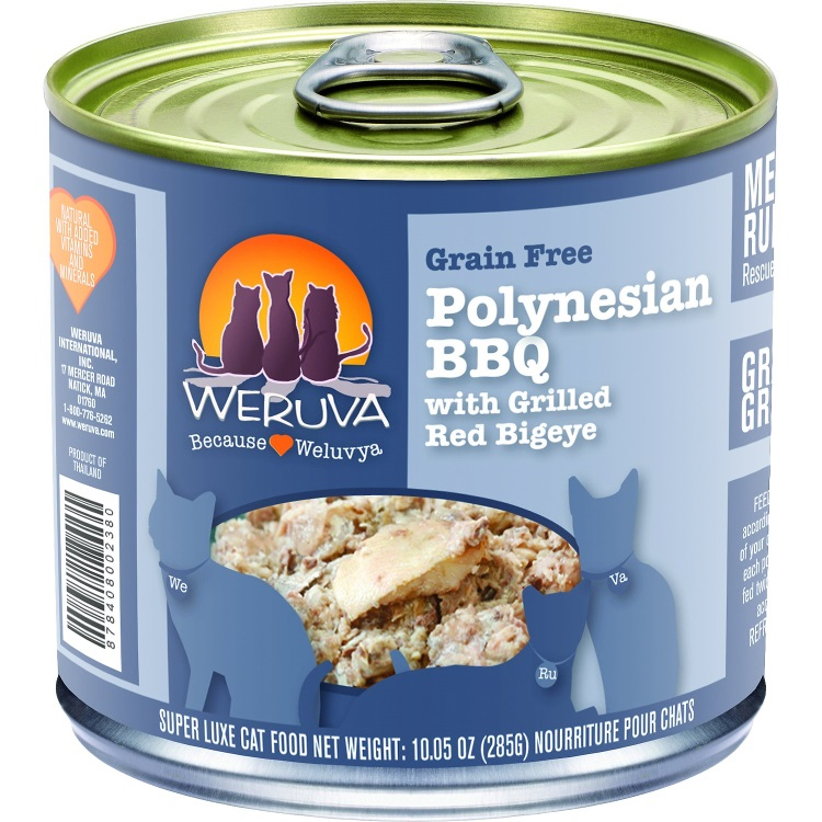 Weruva Grain-Free Polynesian BBQ with Grilled Red Bigeye Canned Cat Food 10z, 12