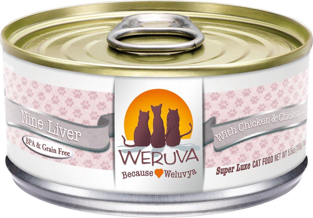 Weruva Grain-Free Nine Liver with Chicken & Chicken Liver in Gravy Canned Cat Food 5.5z, 24