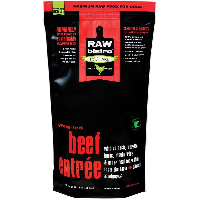 Raw Bistro Free-Range Beef Entree Grain-Free Raw Frozen Dog Food 6lbs