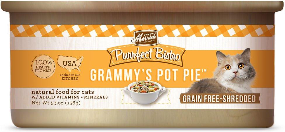 Merrick Purrfect Bistro Grain-Free Grammy's Pot Pie Minced in Gravy Canned Cat Food 5.5, 24