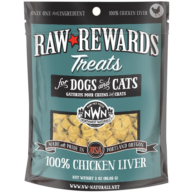 Northwest Naturals Raw Rewards Chicken Liver Freeze Dried Dog & Cats Treats 3z