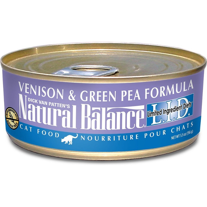 Natural Balance Grain-Free L.I.D. Limited Ingredient Diets Venison & Green Pea Formula Canned Cat Food 5.5z, 24