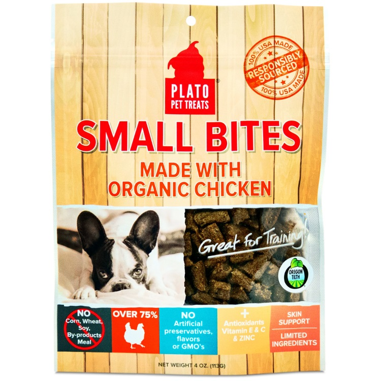 Plato Small Bites Organic Chicken Dog Treats 4z