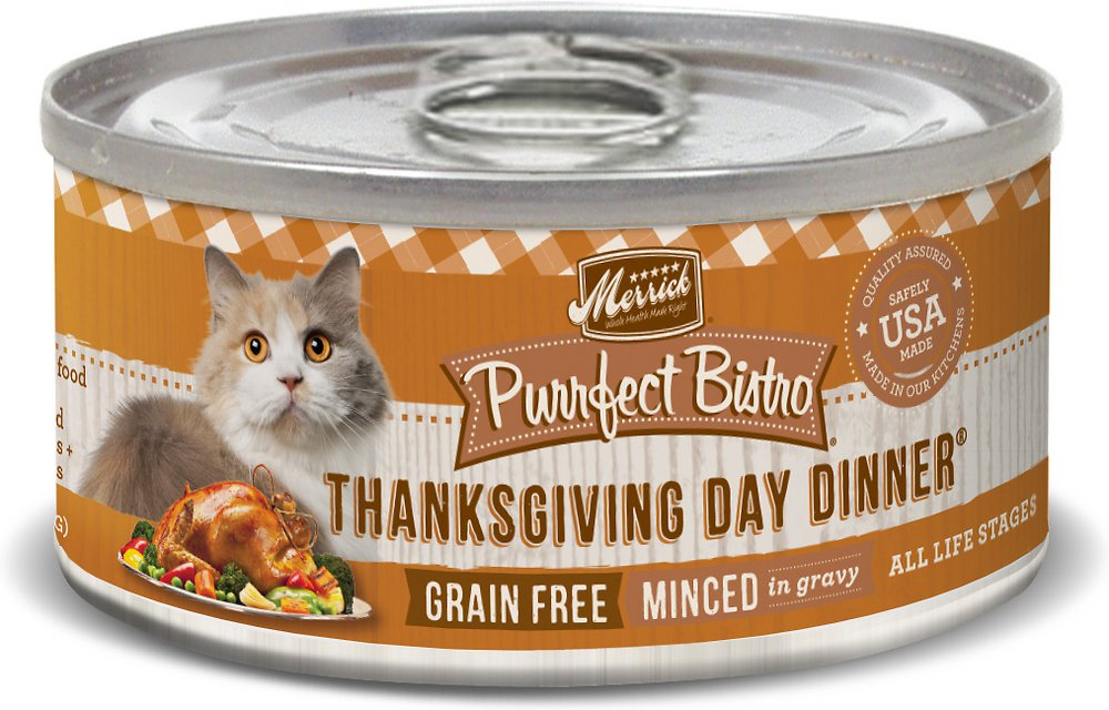 Merrick Purrfect Bistro Grain-Free Thanksgiving Day Dinner Minced in Gravy Canned Cat Food 3z, 24