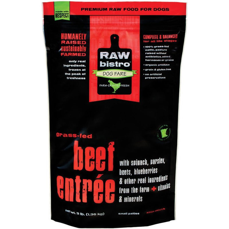 Raw Bistro Free-Range Beef Entree Grain-Free Raw Frozen Dog Food 3lbs
