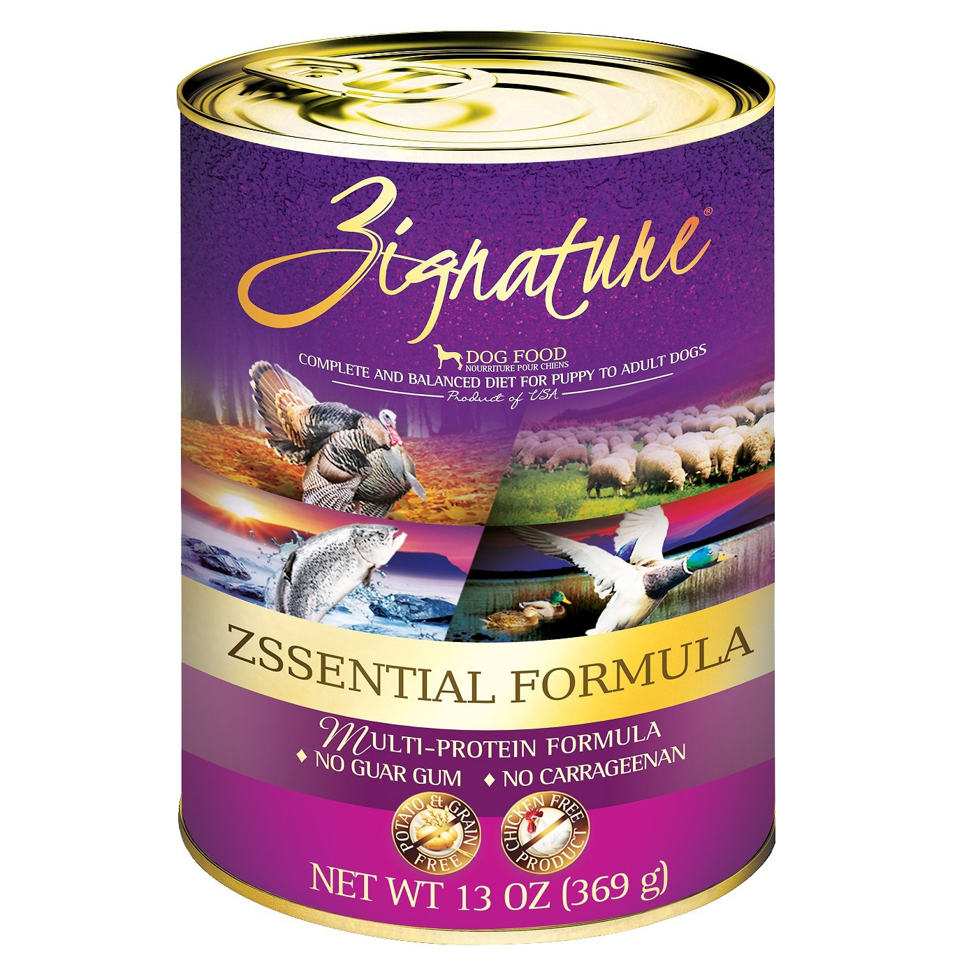 Zignature Grain-Free Zssential Multi-Protein Formula Canned Dog Food 13z, 12