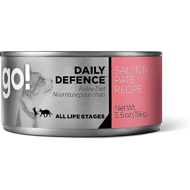 Petcurean Go! Daily Defence Salmon Pate Recipe Canned Cat Food 5.5z, 24