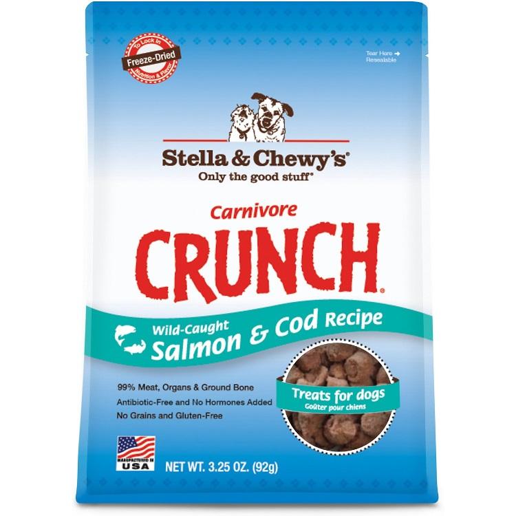 Stella & Chewy's Carnivore Crunch Wild-Caught Salmon & Cod Dog Treats 3.25z