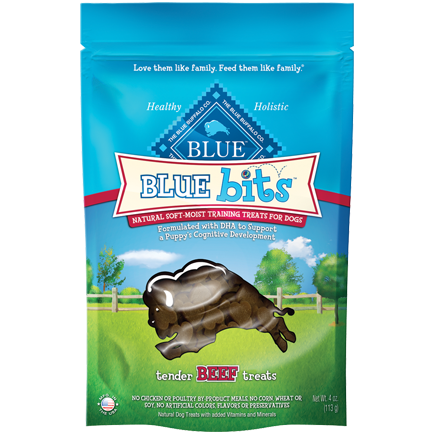 Blue Buffalo Blue Bits Tender Beef Recipe Soft-Moist Training Dog Treats 4z