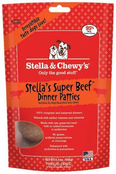 Stella & Chewy's Super Beef Dinner Patties Raw Freeze Dried Dog Food 5.5z