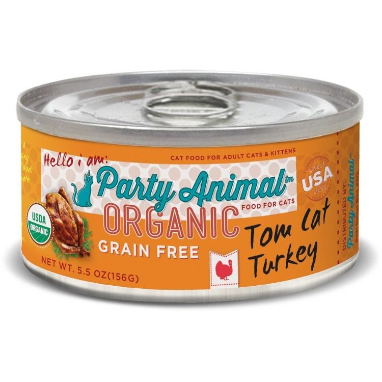 Party Animal Tom Cat Turkey Recipe Grain-Free Canned Cat Food 5.5z, 24