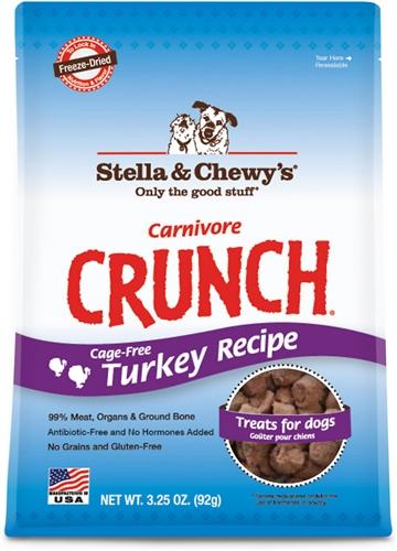 Stella & Chewy's Carnivore Crunch Cage-Free Turkey Dog Treats 3.25z