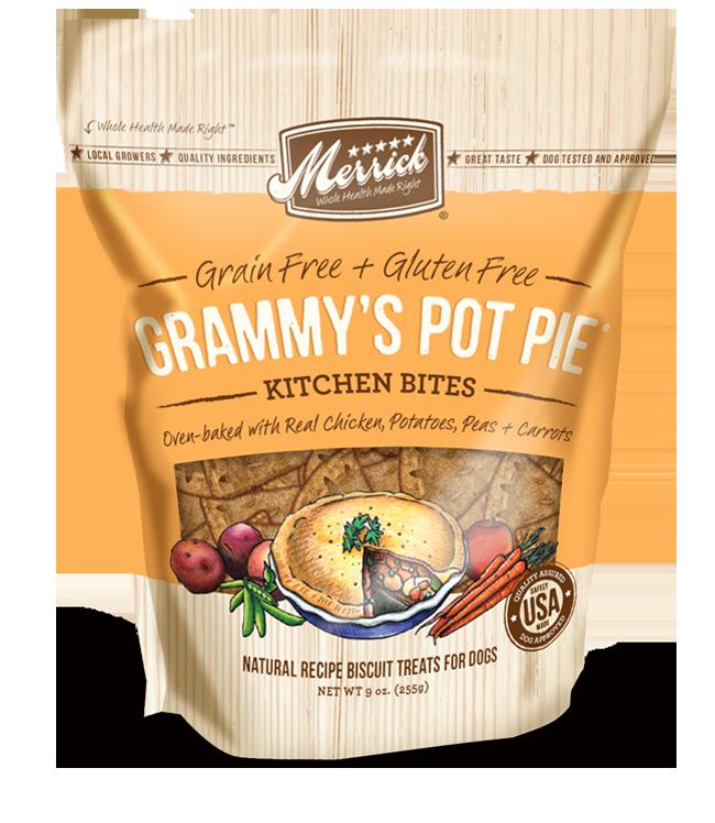 Merrick Kitchen Bites Grammy's Pot Pie Grain-Free Biscuits Dog Treats 9z