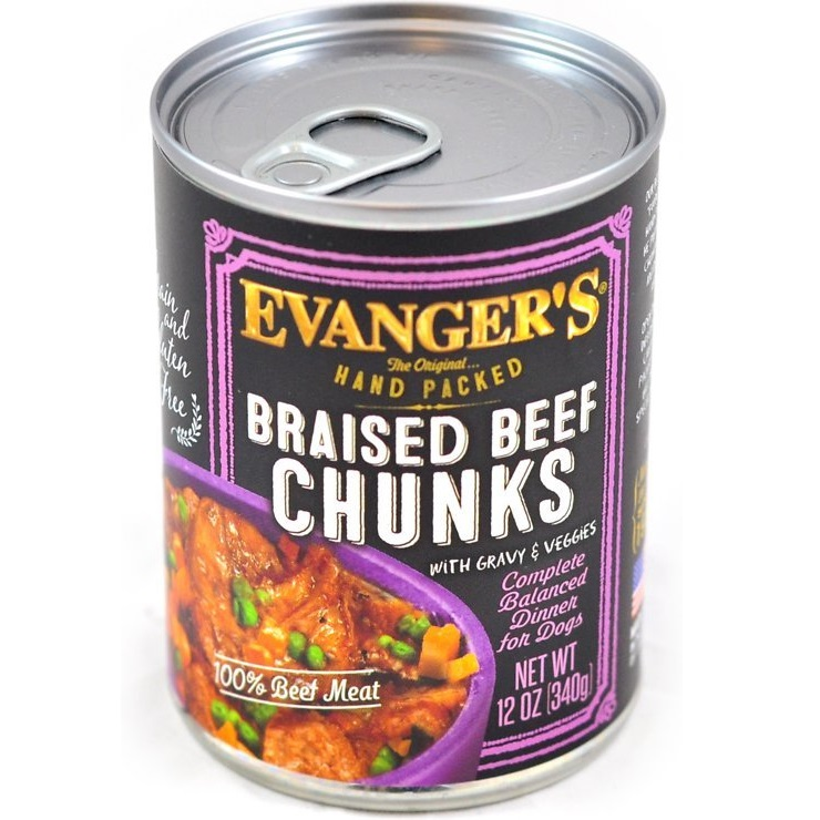 Evanger's Grain-Free Hand Packed Braised Beef Chunks with Gravy Canned Dog Food 13z, 12