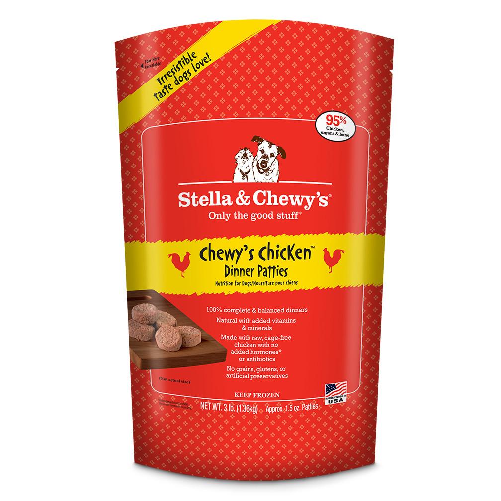 Stella & Chewy's Chewy's Chicken 1.5z Dinner Patties Grain-Free Raw Frozen Dog Food 3lbs