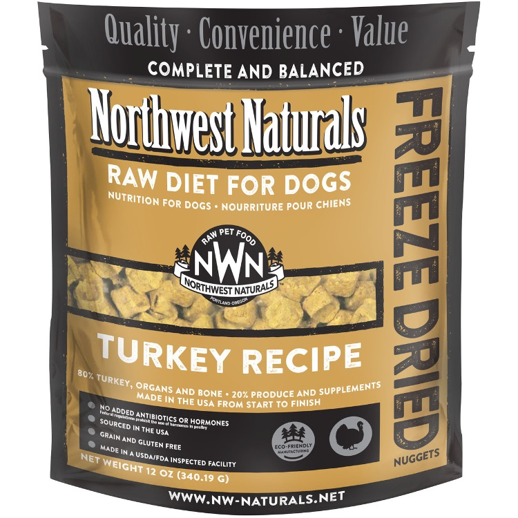 Northwest Naturals Raw Diet Grain-Free Turkey Nuggets Freeze Dried Dog Food 12z