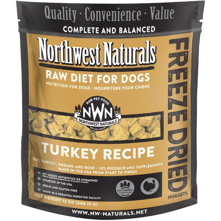 Northwest Naturals Raw Diet Grain-Free Turkey Nuggets Freeze Dried Dog Food 12z