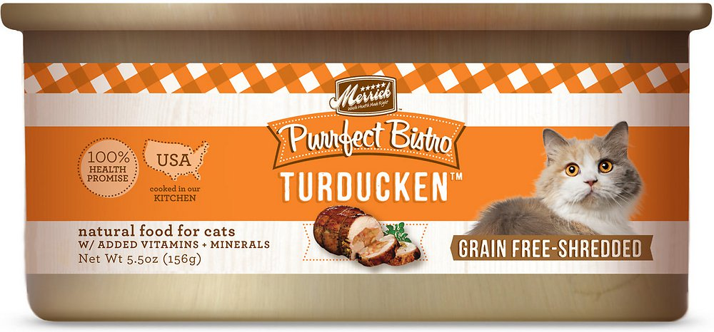 Merrick Purrfect Bistro Grain-Free Turducken Minced in Gravy Canned Cat Food 5.5z, 24