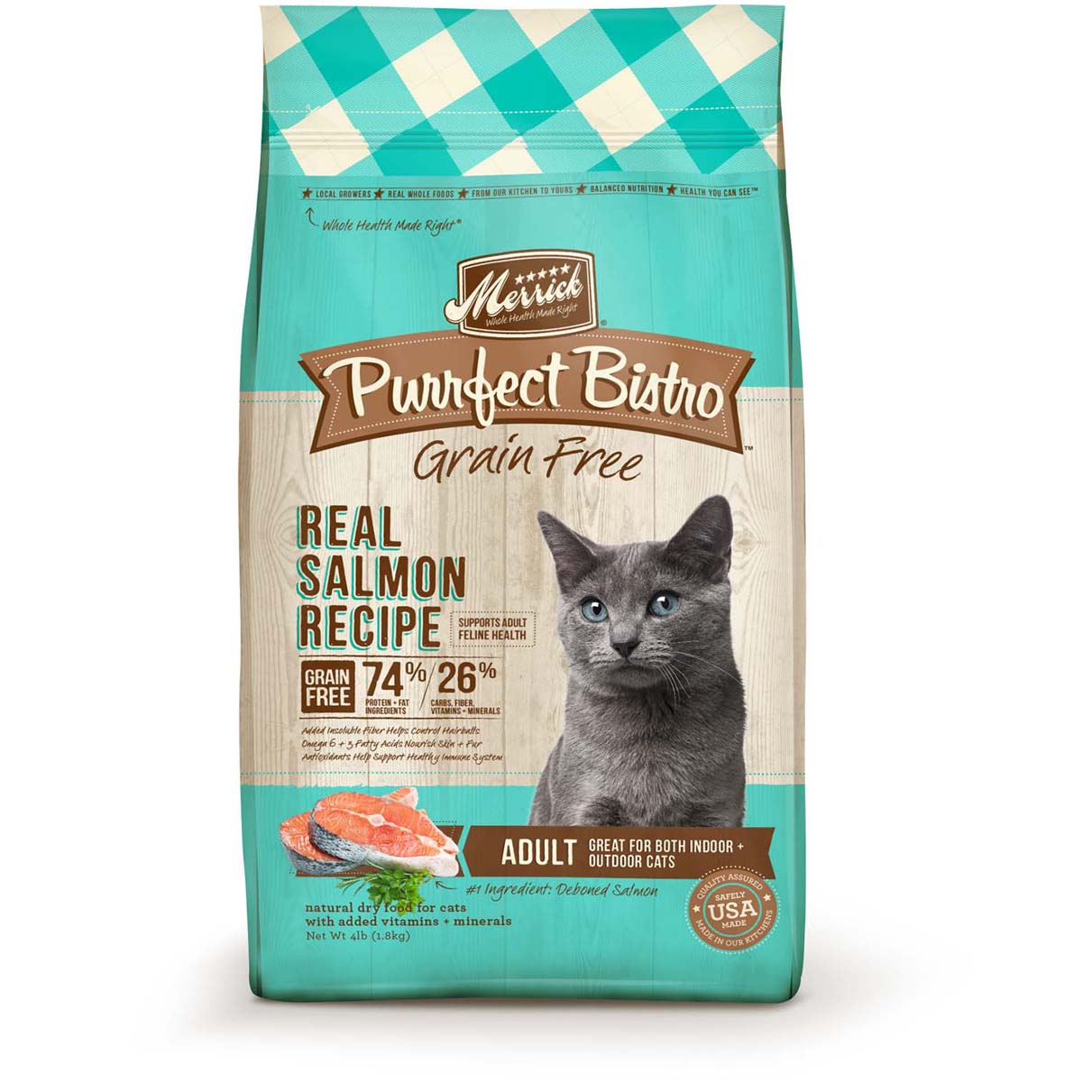 Merrick Purrfect Bistro Grain-Free Real Salmon Recipe Adult Dry Cat Food 4lbs