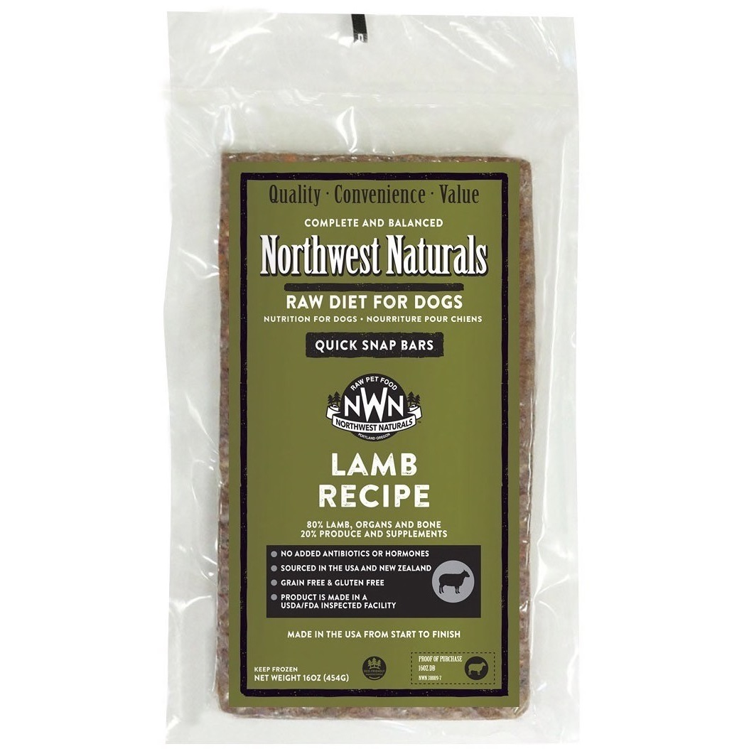 Northwest Naturals Raw Diet Grain-Free Lamb Dinner Bar Raw Frozen Dog Food - Individually Wrapped 1lbs