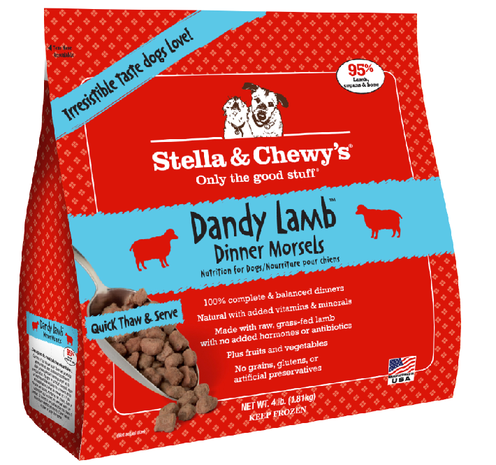 Stella & Chewy's Dandy Lamb Dinner Morsels Grain-Free Raw Frozen Dog Food 4lbs