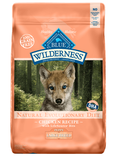 Blue Buffalo Wilderness Large Breed Puppy Chicken Recipe Grain-Free Dry Dog Food 24lbs