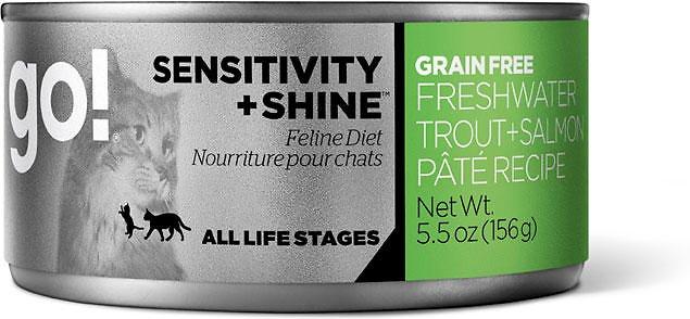 Petcurean Go! Sensitivity + Shine Grain-Free Freshwater Trout & Salmon Pate Recipe Canned Cat Food 5.5z, 24
