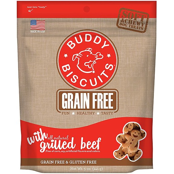 Cloud Star Buddy Biscuits Grain-Free Soft & Chewy with Slow Roasted Beef Dog Treats 5z