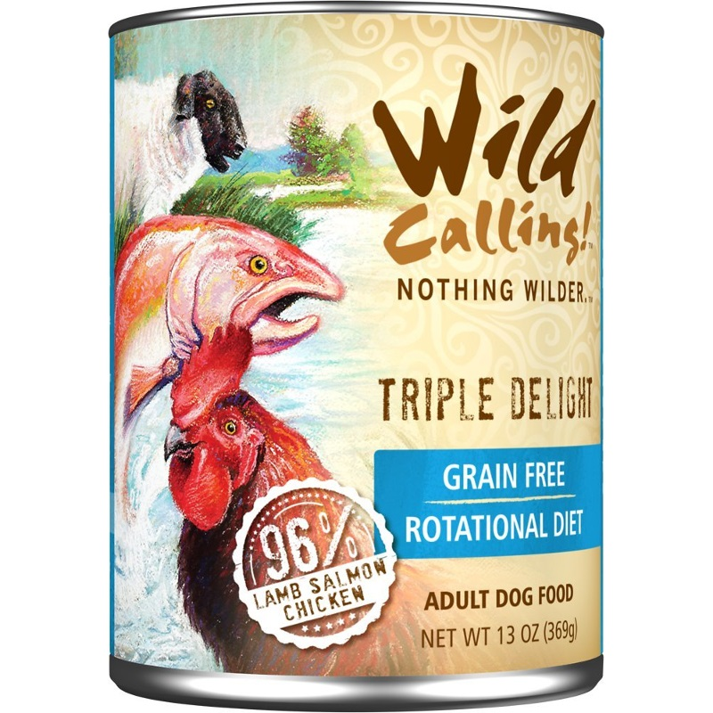 Wild Calling Triple Delight 96% Lamb, Salmon & Chicken Grain-Free Canned Dog Food 13z, 12